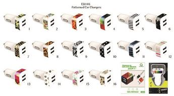 Picture of Patterned Dual USB Chargers